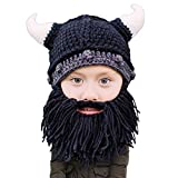 Beard Head Kid Viking Beard Beanie - Horned Hat and Fake Beard for Kids Toddlers Black