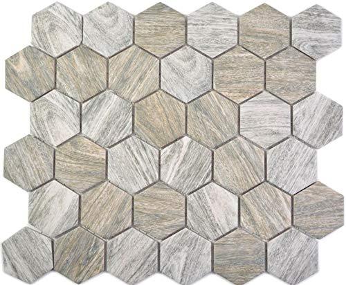 mosaico in ceramica Hexagon legno grigio pavimento cucina doccia bagno piastrelle mosaico piastrelle tappetino mosaico piatto mosaico