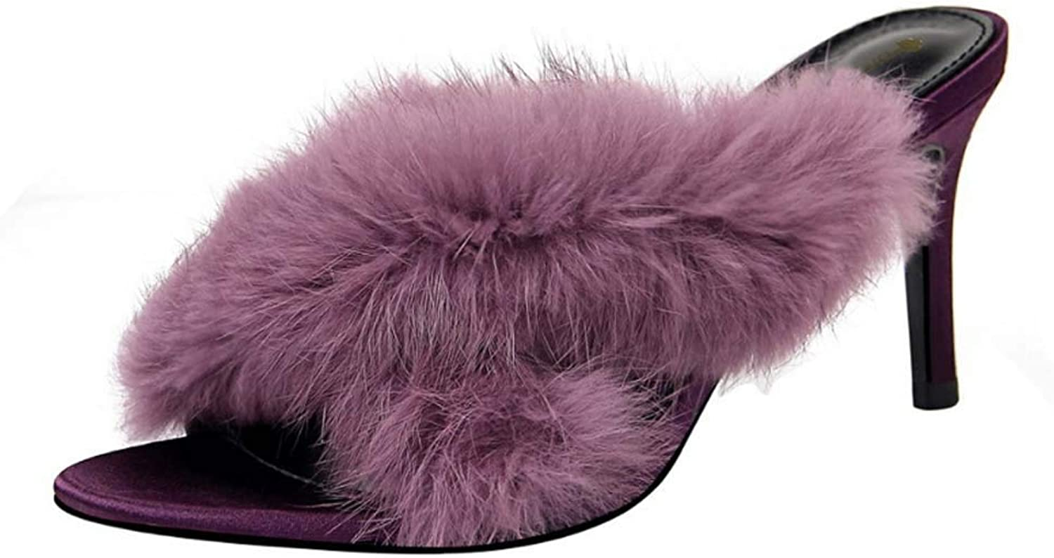 Women Genuine Slipper Mule Slippers Soft Wool Lining House shoes Winter Outdoor Slip On Mega Fluffy Mules Sliders Slippers Sandals,Purple,40EU