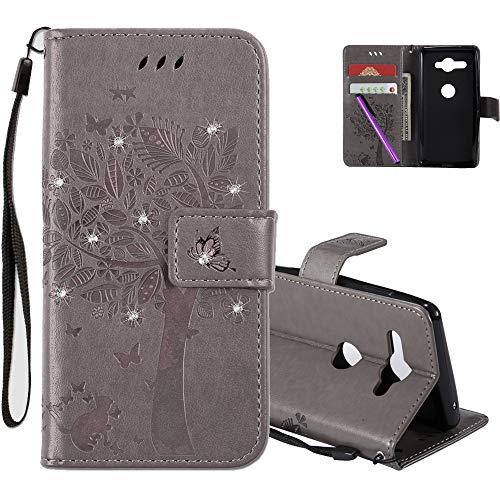 COTDINFOR Sony Xperia XZ2 Compact Hülle für Mädchen Elegant Retro Premium PU Lederhülle Handy Tasche Magnet Standfunktion Schutz Etui für Sony Xperia XZ2 Compact Gray Wishing Tree with Diamond KT.