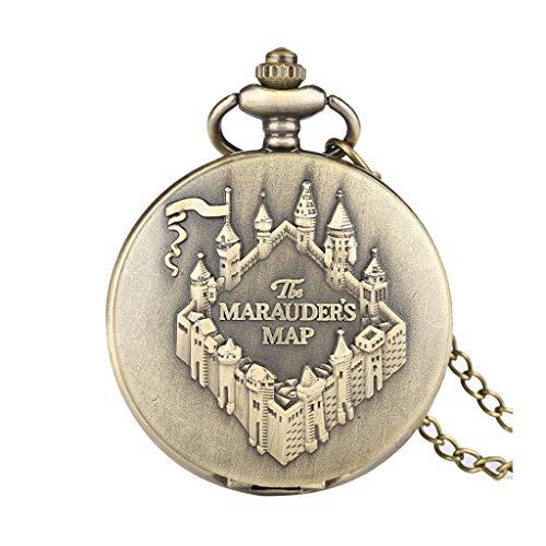 YUTRD ZCJUX Mapa Reloj de Bolsillo de Cobre Reloj Vintage Collar Colgante Reloj Mujeres Hombres Cadena Regalos de Recuerdo
