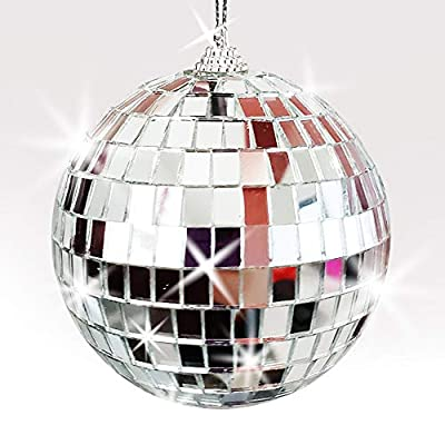 ArtCreativity 4 Inch Mirror Disco Ball - Silver Disco Ball with Hanging String for Parties, Birthdays, and Weddings - 90's Disco Party Decorations and Supplies, Ceiling Décor Disco Accessories