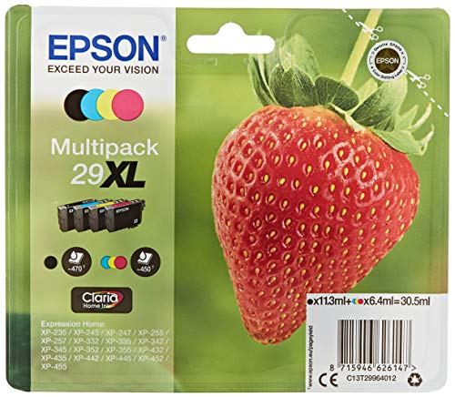 Epson Original 29XL Tinte Erdbeere, XP-235 XP-332 XP-335 XP-432 XP-435 XP-245 XP-342 XP-345 XP-442 XP-445 XP-247 XP-257 XP-255 XP-352 XP-355 XP-452 XP-455, (Multipack 4-farbig)