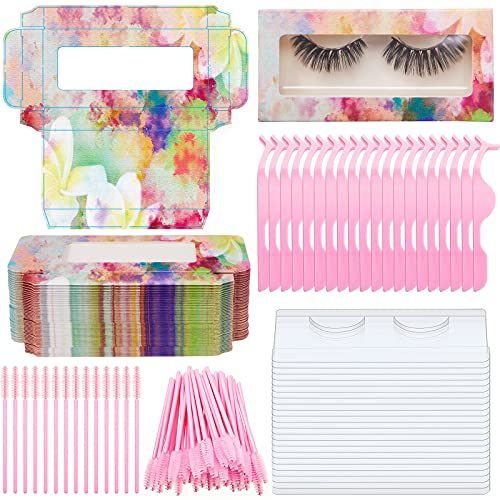 130 Pieces Empty Eyelash Kit Includes 30 Pieces Empty Eyelash Holder Packaging Box with 30 Pieces Trays, 20 Pieces Eyelash Extension Tweezers Applicator Tool, 50 Pieces Mascara Wands (Tie-dye)
