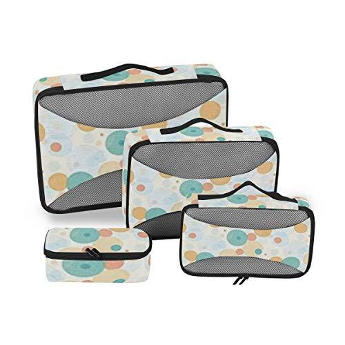 Geometric 4pcs Large Travel Toiletry Bag for Women Big Wash Bags Hair Dryer Case Multi-Use Toiletries Kit Cosmetics Makeup Bathroom Organizer Suitcase