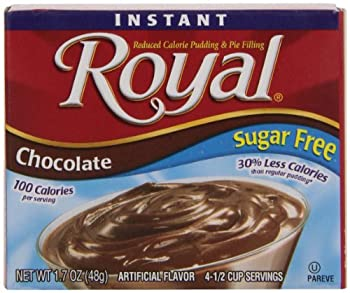 Royal Instant Pudding Dessert Mix Chocolate Sugar Free and Fat Free  1.69 oz Boxes  Pack of 12