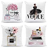 FCOZM 18x18 Pink Gold Throw Pillow Covers Fashion Women Girly Bed Decorative Pillow Covers Flower Perfume Lipstick Sofa Couch Pillow Covers Black White Accent Velvet Pillow Cases Set of 4(Black Pink)