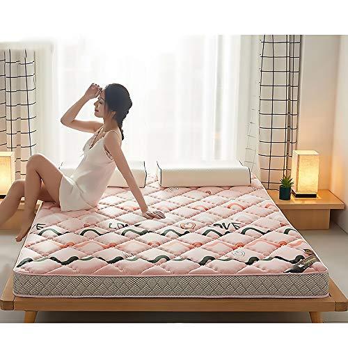 MKMKT Colchón de látex Natural de tamaño Completo, colchón de Espuma viscoelástica, Tatami Grueso, diseño ergonómico, Puede aliviar el Dolor de Espalda, Rosa,10cm Thickness,90x190cm
