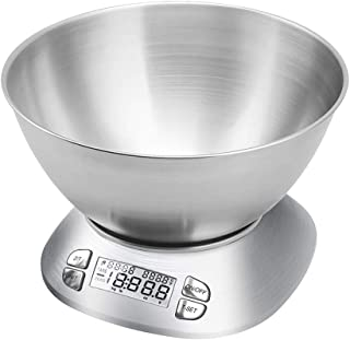 Digital Kitchen Scale with Removable Bowl 2.5L Volume, Electronic Stainless Steel Food Scale for Cooking Baking, Room Temp...