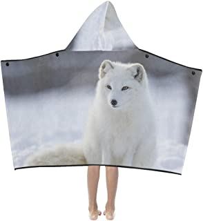Snow White Arctic Fox Soft Warm Cotton Blended Kids Dress Up Hooded Wearable Blanket Bath Towels Throw Wrap for Toddlers Child Girls Boys Size Home Travel Picnic Sleep Gifts Beach