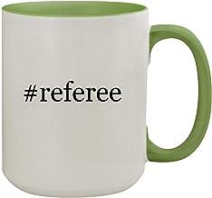 #referee - 15oz Hashtag Ceramic Inner & Handle Colored Coffee Mug, Light Green