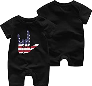 ASL (American Sign Language) I Love You Newborn Baby Girl Infant Unisex Short Sleeve Printed Romper Jumpsuit