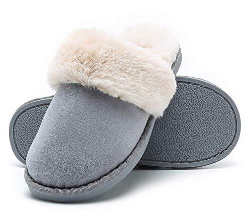 Misolin Hausschuhe Damen Warm Winter Slipper Faux Pelz Weiche Flache Plüsch Pantoffel rutschfeste Outdoor/Indoor - mit super Qualität