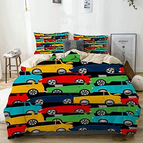 Popun Juego de Funda nórdica Beige, Street Racing Cars, Juego de Cama Decorativo de 3 Piezas con 2 Fundas de Almohada