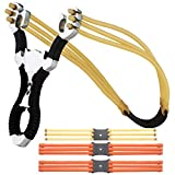DIDUNSASI Stainless Steel Slingshot Powerful recurve slingshot Professional Outdoor Hunting catapult,with 4 Rubber Bands (Straight)