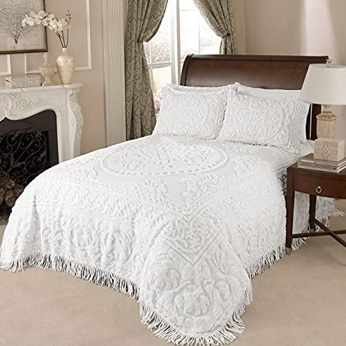 Beatrice Home Fashions Medallion Chenille Bedspread, Queen, White