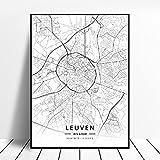 zhuifengshaonian Mons Liege Charleroi Leuven Ghent Amberes Bruselas Bélgica Lienzo Arte Mapa Cartel (ZW-1860) Sin Marco Poster 40x60cm