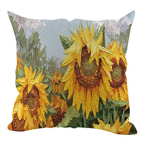 MUzoo 45x45cm Sonnenblume Ölgemälde Kurzer Plüsch Kissenbezug Sofa Kissen Set Home Decoration, Kissenbezug Wohnzimmer Schlafzimmer mit Unsichtbarer Reißverschluss (Color : A13)
