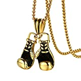 adonpshy Valentine's Day Wedding Anniversary Jewelry Fashion Men Boxing Glove Pendant Chain Necklace Fitness Sports Jewelry Gift, Gift for Women Kids Child Necklace - Golden