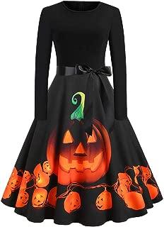 Womens Halloween Dresses, Simplenes Pumpkin Lantern Print Women's 1950s A Line Vintage Dresses with Belt Audrey Hepburn Style Party Dress Swing Retro Rockabilly Cocktail Stretchy Dresses