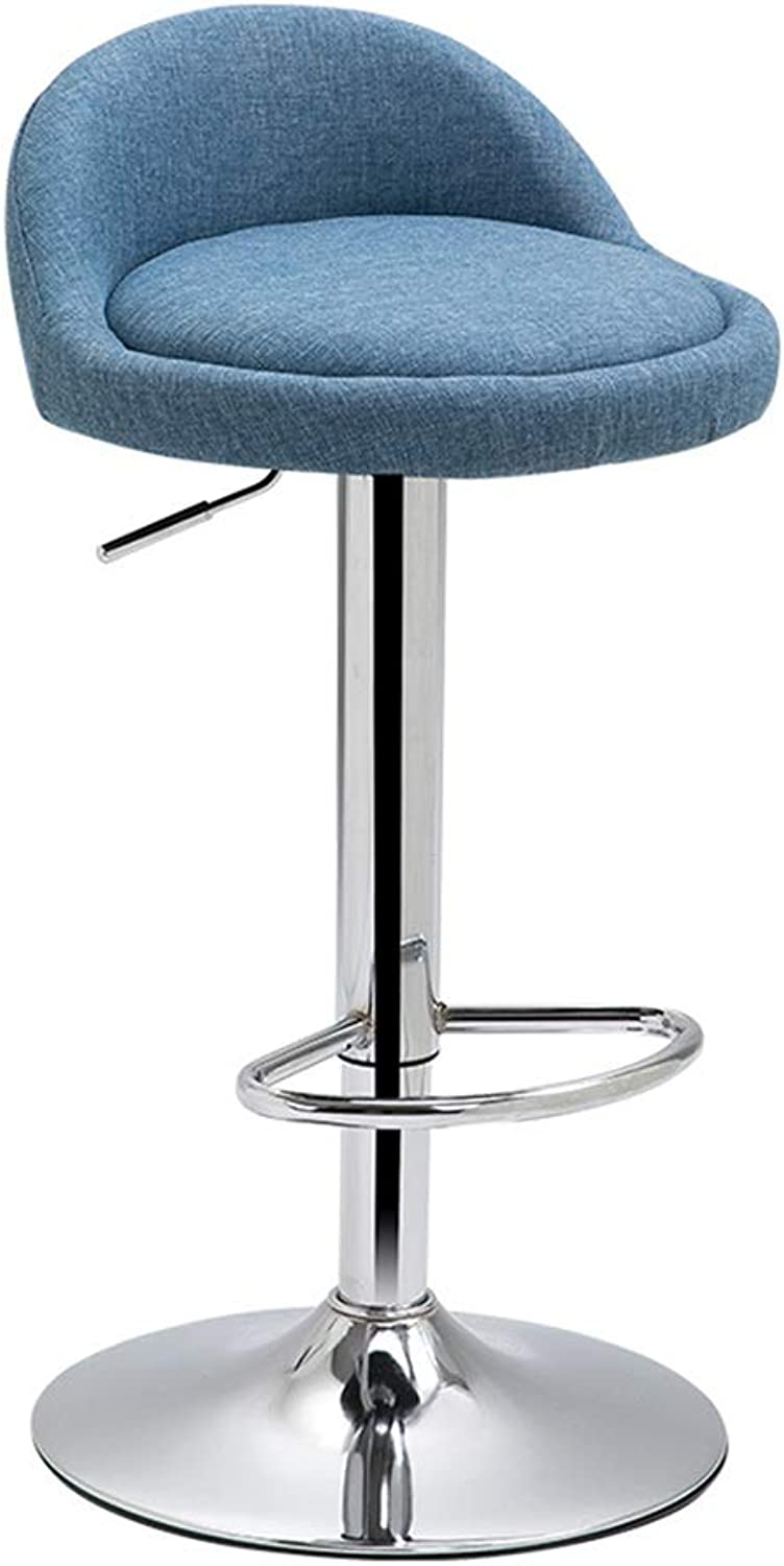 Desk Chairs Office Chair Bar Chair Breakfast Chair Household Lift Chair Beauty Salon Stool Learning Backrest Chair 360° redation Can Bear 100 Kg (color   bluee, Size   38.5  60-80cm)