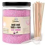 Greendoso-Azúcar para Algodón de Azúcar, Rosa Vainilla de 1,2 Kg, Nubes, Polvo para Máquina + 50 Palitos de 30 Cm (Ofrecido) + 1 Cuchara Graduada…