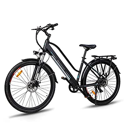 MACWHEEL Electric City Bike, Removable 36V/10Ah Lithium-ion Battery Pack Integrated with Frame, Shimano 7-Speed, Saddle Adjustable, Tektro Dual Disc Brakes Electric Bicycle for Commuting, Ranger 500