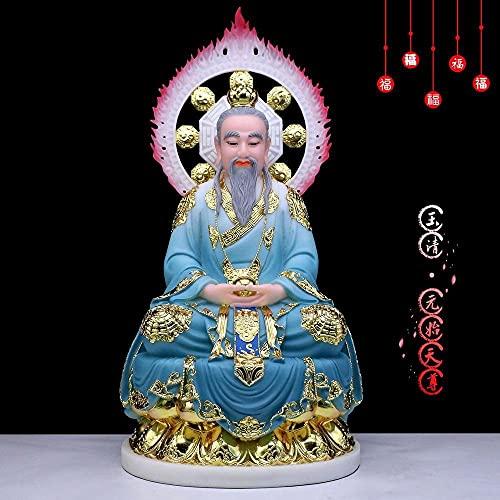 YIONGA CAIJINJIN Buddha Asia Taoísmo Inicio Protección Familiar Temple Altar Adoración Hada Dios Zu Shi Yuan Shi Tianzun Gilding Jade Buddha Feng Shui Statue (Size : 38cm Tall)