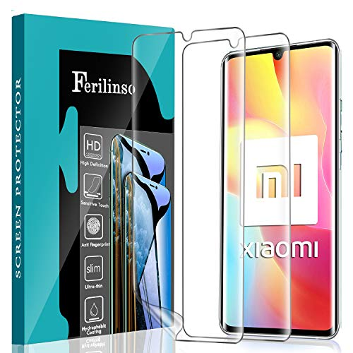 Ferilinso Schutzfolie Kompatibel mit Xiaomi Mi Note 10 Lite,[2 Pack] Ersatz-Bildschirmschutzfolie High Sensitive Full Coverage 3D PET Flexible TPU-Folie für Xiaomi Mi Note 10 Lite Schutzfolie
