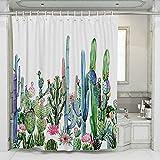 JOTOM Blumen Duschvorhang Schimmelresistenter & Wasserabweisend waschbar wasserdicht Shower Curtain mit 12 Duschvorhangringen (Kaktus D)