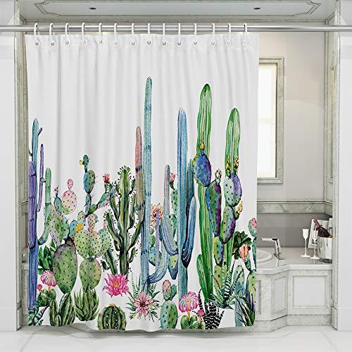 JOTOM Cortina de Baño Impermeable Poliéster con Ganchos,Cortina de Ducha Resistente al Agua para Decoración 180x180cm (Cactus D)