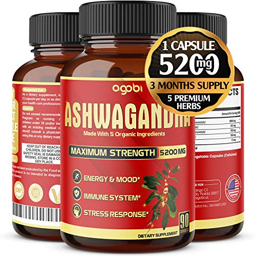 Organic Ashwagandha Capsules 5200mg, Highest Potency with Turmeric, Ginger, Black Pepper & Rhodiola |Mood Enhancer, Adrenal, Thyroid Support, Anxiety and Stress Relief Supplements - 3 Months Supply