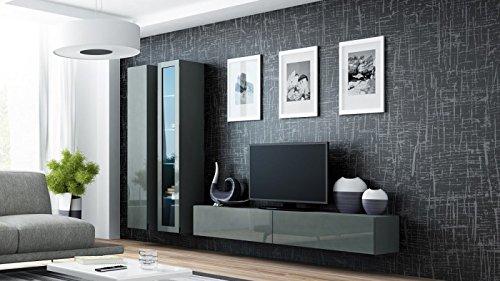 Wohnwand ' Vigo 3' Hochglanz Hängeschrank Lowboard Cube , Farbe:Grau
