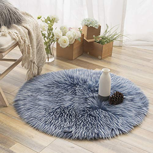 Ashler Faux Fur Rug Soft Faux Peacock Fluffy Rugs Luxurious Carpet Rugs Area Rug for Bedroom, Living Room Carpet Blue- 3 x 3 Feet Round