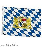 BAYERN-FAHNE mit Wappen, 60x90cm