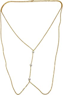 Town Of Trinkets 10Mm 3 Simulted Gold Enamel Pearls Body Waist Link Chain For Women