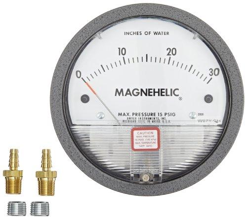 "Dwyer Magnehelic Series 2000 Differential Pressure Gauge, Range 0-1""WC & 0-4000 fpm"