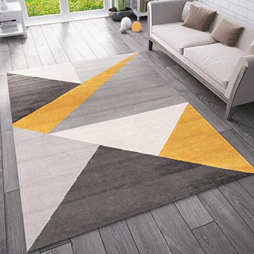 VIMODA Teppich Wohnzimmer Schlafzimmer Flur Teppich Geometrisches Muster Gelb, Maße:80x150 cm