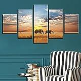 CNCN Imágenes de Lienzo Modular Home Wall Art5 Piezas Elefantes Naturaleza Paisaje Cartel HD Impresiones Pinturas Salón Decoración 20x35cm 20x45cm20x55cm