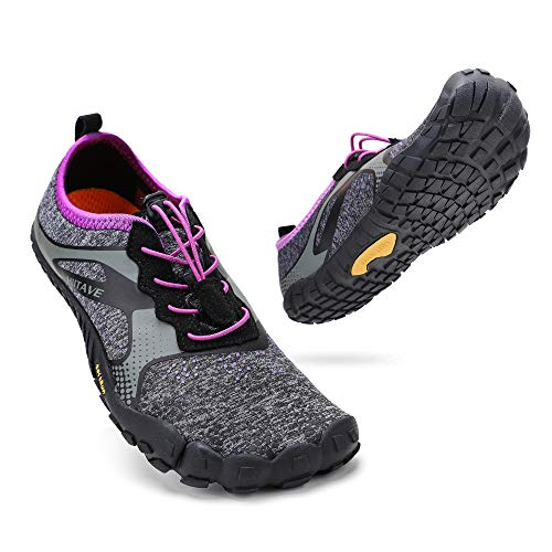 ALEADER hiitave Womens Minimalist Barefoot Trail Running Shoes Wide Toe Glove Cross Trainers Hiking Shoes Black/Purple 7.5 US Ladies