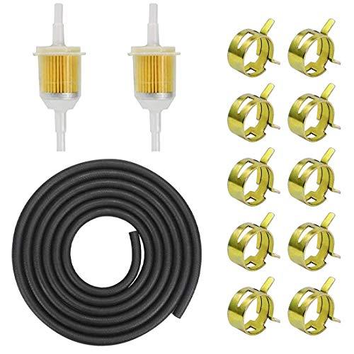 Vegena Benzinschlauch Kit, 2 Meter Ø 5mm Kraftstoffleitung 2 Stück 8mm Benzinfilter 10 Stück Schlauchschellen für PKW Auto Motorrad Rasenmäher Roller
