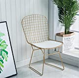 Schmiedeeisen Wohnzimmer Gitter Stuhl kreative einfache Esszimmerstuhl Bar Gartenstuhl@Gold_51 * 41 * 81cm