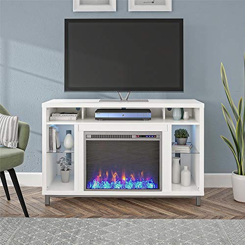"""Ameriwood Home Lumina Fireplace TV Stand for TVs up to 48"""" (White)"""