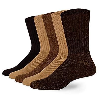 Dockers Men's 5 Pack Cushion Comfort Sport Crew Socks, Khaki Assorted (5 Pairs), Shoe Size: 13-15