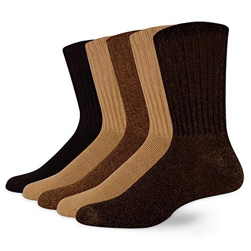 Dockers Men's 5 Pack Cushion Comfort Sport Crew Socks, Khaki Assorted (5 Pairs), Shoe Size: 6-12