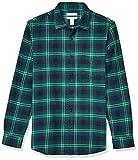 Amazon Essentials - Camisa de franela a cuadros, manga larga, ajustada, para hombre, Azul (Navy/Green Ombre), US M (EU M)