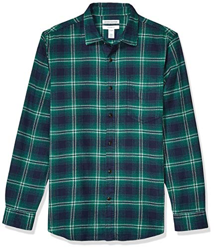 Amazon Essentials - Camisa de franela a cuadros, manga larga, ajustada, para hombre, Azul (Navy/Green Ombre),...