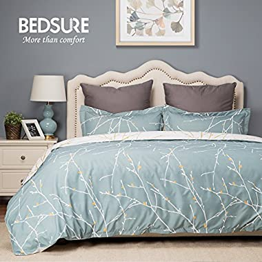Bedsure Duvet Cover Set with Zipper Closure-Teal/White Printed Branch Pattern Reversible,King(104 x90 )-3 Piece (1 Duvet Cover + 2 Pillow Shams)-110 gsm Ultra Soft Hypoallergenic Microfiber