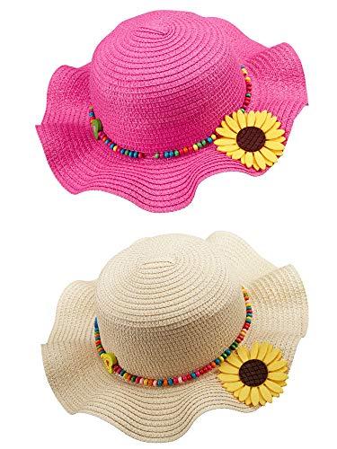 SATINIOR 2 Stück Kinder Hüte mit Großer Krempe Blumen Strand Sonnenhüte Mehrfarbige Mädchen Strohhüte (Rosenrot, Beige)