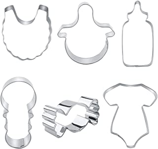 Baby Shower Cookie Cutters - 6 Piece - Onesie, Bib, Rattle, Bottle, Candy and Nipple Stainless Steel